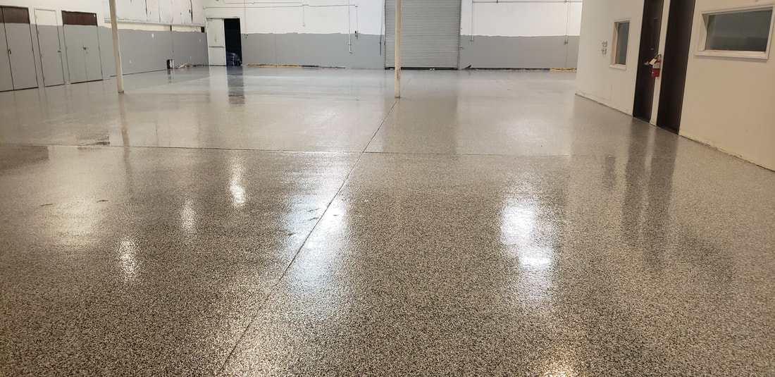This is a picture of an epoxy garage floor.